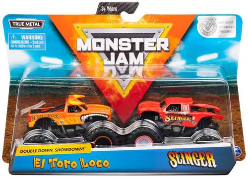 Monster Jam Double Down Showdown! El Toro Loco & Slinger Diecast Car 2-Pack