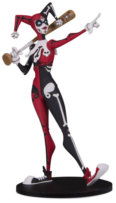 """DC Artist Alley Harley Quinn Exclusive 6.75-Inch PVC Collector Statue [Hainanu """"Nooligan"""" Saulique, Day of the Dead Variant]"""