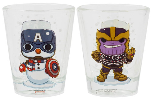 Funko Marvel Collector Corps Thanos & Captain America Exclusive Set of 2 Toothpick Holder / Shot Glass [Holiday]