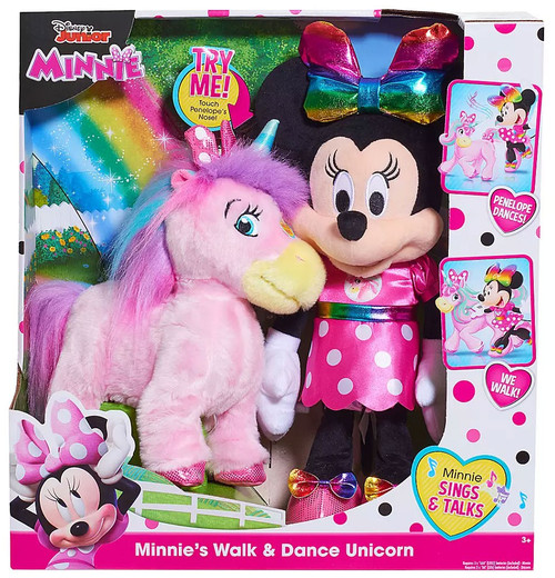 Disney Junior Minnie Mouse Minnie's Walk & Dance Unicorn Plush Figure 2-Pack