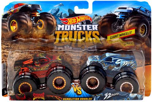 Hot Wheels Monster Trucks Demolition Doubles Scorcher vs. 32 Degrees Diecast Car 2-Pack [Vesion 2]