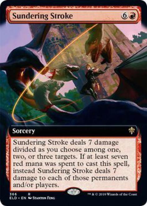 MtG Throne of Eldraine Rare Sundering Stroke #366 [Extended Art]