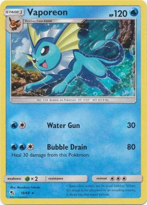 Pokemon Trading Card Game Hidden Fates Rare Holo Vaporeon #18