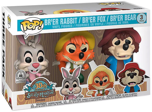Funko Splash Mountain 30th Anniversary POP! Disney Br'er Rabbit, Br'er Fox & Br'er Bear Exclusive Vinyl Figure 3-Pack