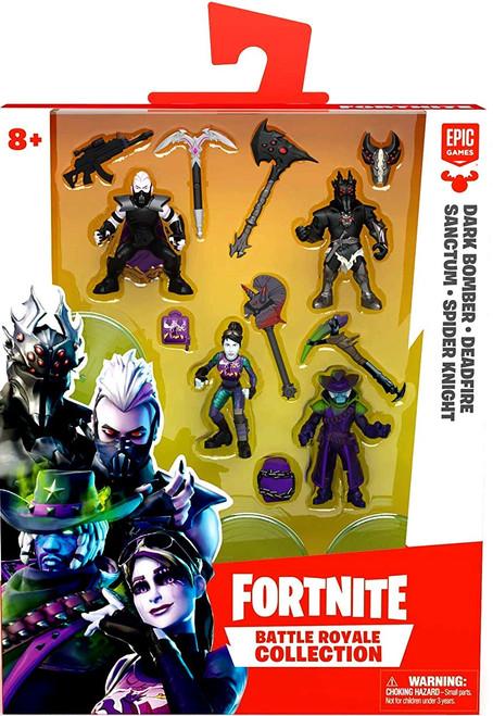 Fortnite Battle Royale Collection Dark Bomber, Deadfire, Sanctum & Spider Knight 2-Inch Mini Figure 4-Pack