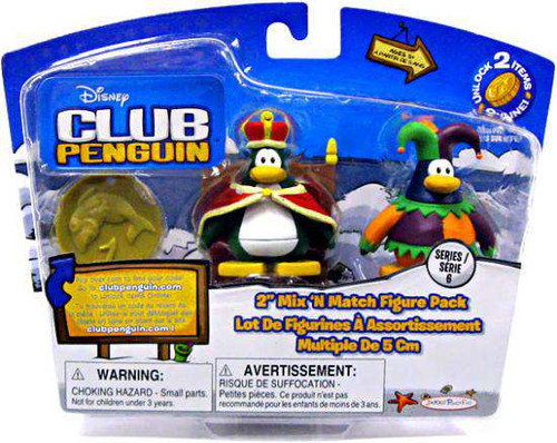 Club Penguin Mix 'N Match Series 6 Court Jester & King Mini Figure Set [Damaged Package]