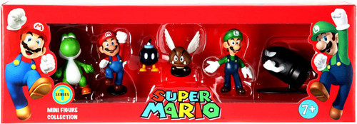 Super Mario Mini Figure Collection Series 1 Yoshi, Mario, Bob-omb, Paragoomba, Luigi & Bullet Bill Mini Figure Collection 6-Pack [Damaged Package]