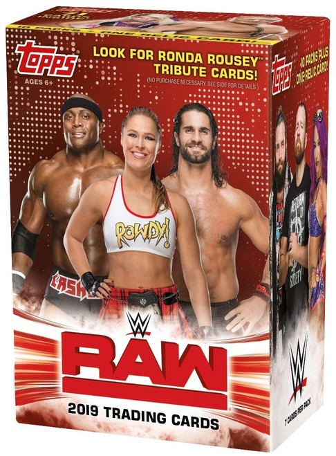 WWE Wrestling Topps 2019 RAW Trading Card BLASTER Box [10 Packs & 1 Relic Card]