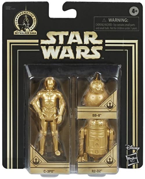 Star Wars The Rise of Skywalker Skywalker Saga C-3PO, BB-8 & R2-D2 Action Figure 3-Pack [Gold Figures]