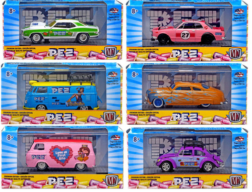 M2 Machines PEZ Exclusive Diecast Vehicle 6-Pack ['63 Econoline, '60 VW Delivery, '67 Beetle, '71 Skyline, '49 Mercury & '69 Camaro COPO]
