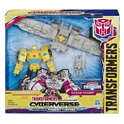 Transformers Cyberverse Power of the Spark Spark Armor Bumblebee Elite Class Action Figure [Ocean Storm]