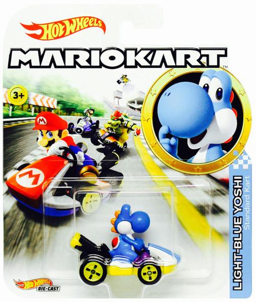 Hot Wheels Mario Kart Light-Blue Yoshi Diecast Car [Standard Kart]