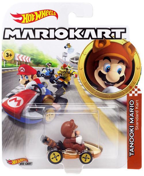 Hot Wheels Mario Kart Tanooki Mario Standard Kart Diecast Car