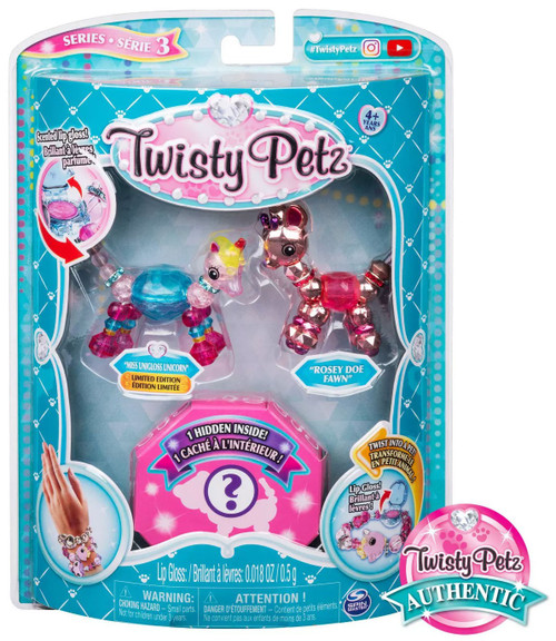 Twisty Petz Series 3 Miss Unigloss Unicorn & Rosey Doe Fawn 3-Pack