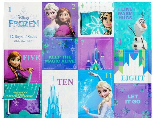 12 Days of Socks Kids Disney Frozen 12-Pack [Shoe Size: 10.5 - 3.5]