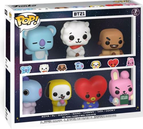 Funko BT21 Line Friends POP! Animation Koya, RJ, Shooky, Mang, Chimmy, Tata & Cooky Exclusive Vinyl Figure 7-Pack