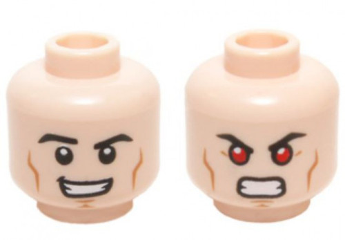 DC Cheek Lines, Smirk / Bared Teeth with Red Eyes Minifigure Head [Dual Sided Loose]