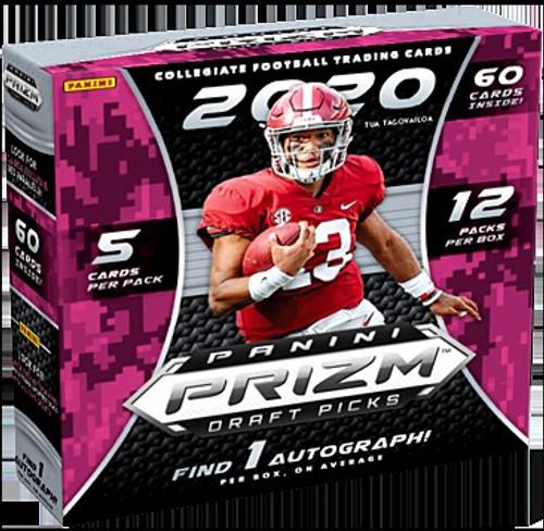 Collegiate Panini 2020 Prizm Draft Picks Football Exclusive Trading Card MEGA Box [12 Packs, 1 Autograph!]