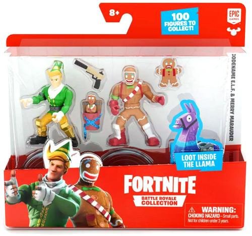 Fortnite Epic Games Battle Royale Collection Codename E.L.F. & Merry Marauder 2-Inch Mini Figure 2-Pack