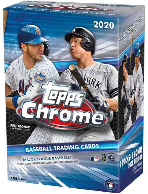 MLB Topps 2020 Chrome Baseball Trading Card BLASTER Box [7 Packs + 1 Bonus Pack]