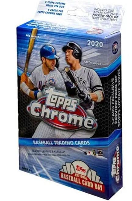 MLB Topps 2020 Chrome Baseball Trading Card HANGER Box [5 Packs + 1 Update Series Preview Pack]