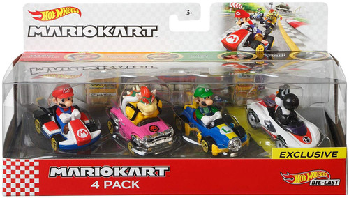 Hot Wheels Mario Kart Mario, Bowser, Luigi & Black Yoshi Diecast Car 4-Pack