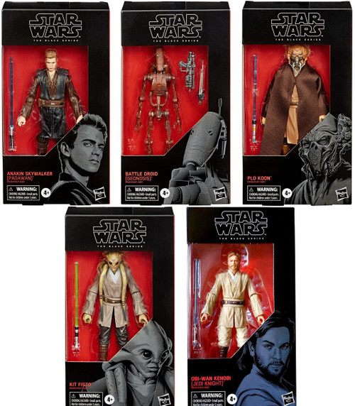 Star Wars Attack of the Clones Black Series Wave 4 Anakin, Obi-Wan, Battle Droid, Plo Koon & Kit Fisto Set of 5 Action Figures
