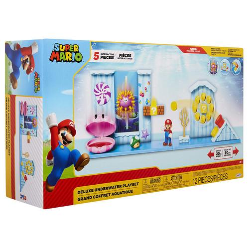 World of Nintendo Super Mario Deluxe Underwater 2.5-Inch Playset [Mario & 1-Up Mushroom]