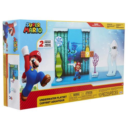 World of Nintendo Super Mario Underwater 2.5-Inch Playset [Mario & Blooper]