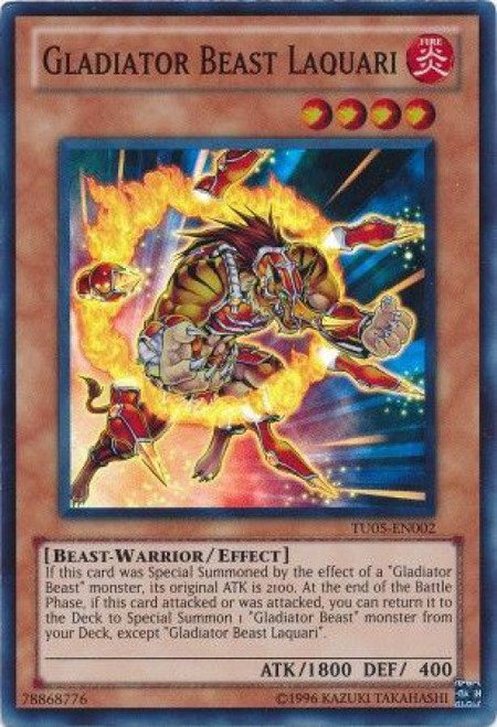 YuGiOh Turbo Pack: Booster Five Super Rare Gladiator Beast Laquari TU05-EN002