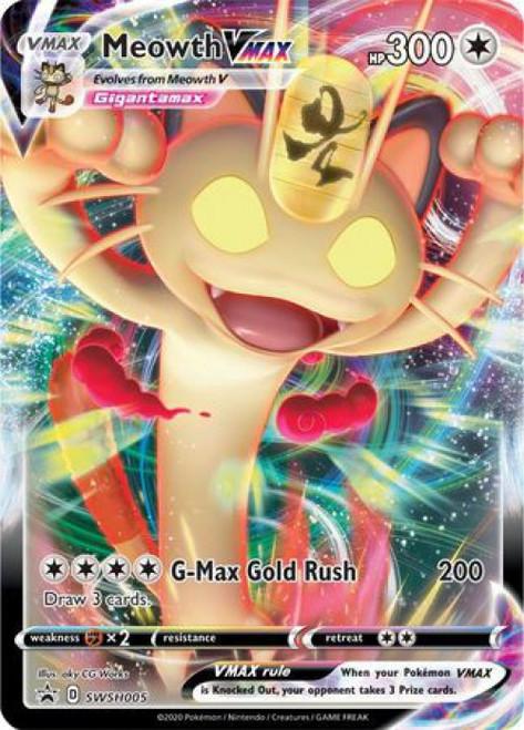 Pokemon Sword & Shield Promo Rare Holo Meowth VMAX SWSH005