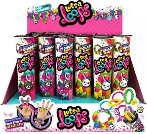 LotsaLoops Cute Charm Bracelet Tube Box [24 Packs]