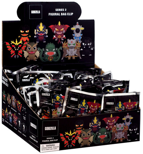 Godzilla 3D Figural Foam Bag Clip Classic Series 2 Mystery Box [24 Packs]