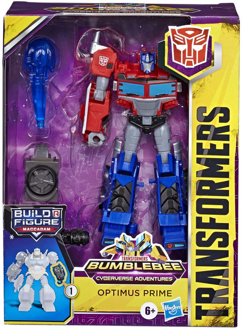 Transformers Cyberverse Adventures Build a Maccadam Optimus Prime Deluxe Action Figure