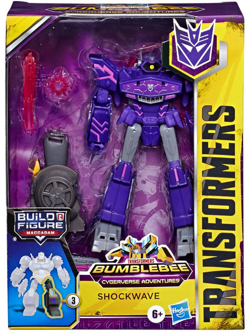 Transformers Bumblebee Cyberverse Adventures Build a Maccadam Shockwave Deluxe Action Figure