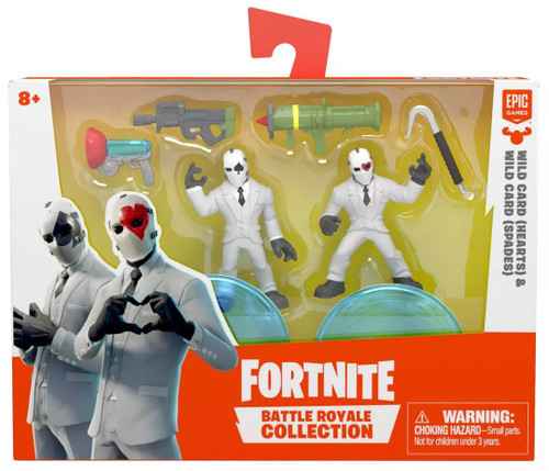 Fortnite Epic Games Battle Royale Collection Wild Card (Hearts) & WIld Card (Spades) 2-Inch Mini Figure 2-Pack
