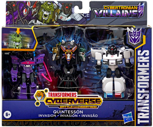 "Transformers Cyberverse Battle for Cybertron 1 Step Changer Quintesson Invasion Exclusive 4.25"" Action Figure 3-Pack"