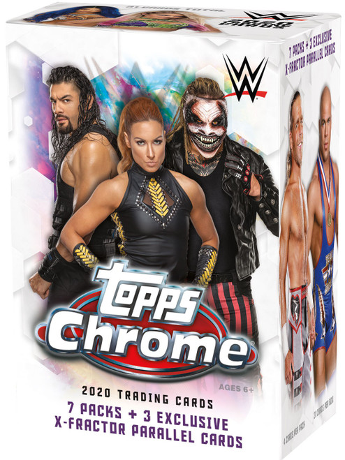 WWE Wrestling Topps 2020 Chrome Trading Card BLASTER Box [7 Packs + 3 Exclusive X-Fractor Parallels]