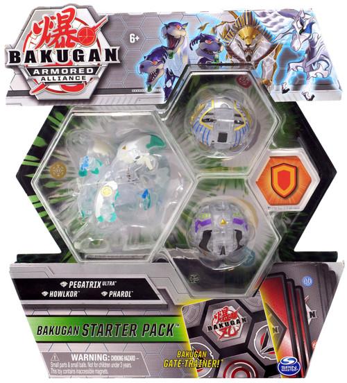 Bakugan Armored Alliance Starter Pack Diamond Pegatrix, Howlkor & Pharol 3-Figure Set