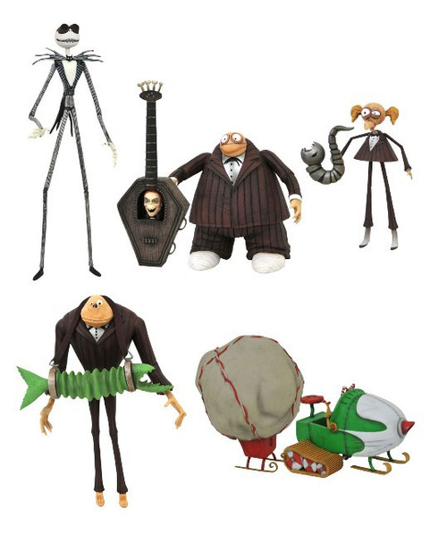 Nightmare Before Christmas Select Series 9 Zombie Bass Player, Jimmy with James, Snowmobile Jack Skellington with Goggles Set of 3 Action Figures
