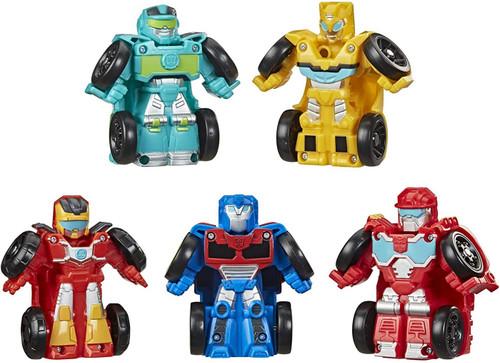 Transformers Rescue Bots Mini Bot Racers Optimus Prime, Bumblebee, Heatwave the Fire-Bot, Hoist, & Hot Shot Vehicle 6-Pack (Pre-Order ships July)
