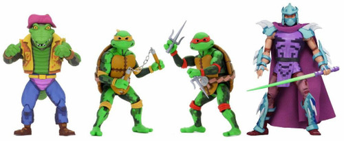 NECA Teenage Mutant Ninja Turtles Turtles in Time Series 2 Michelangelo, Raphael, Leatherhead & Super Shredder Exclusive Set of 4 Action Figures