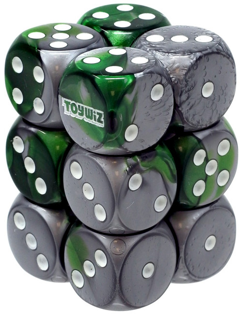 Chessex Toywiz 6-Sided d6 Green & Silver 16mm Dice Pack