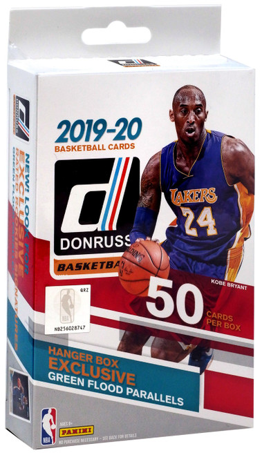 NBA Panini 2019-20 Donruss Basketball Trading Card HANGER Box [50 Cards, 3 Green Flood Parallels]