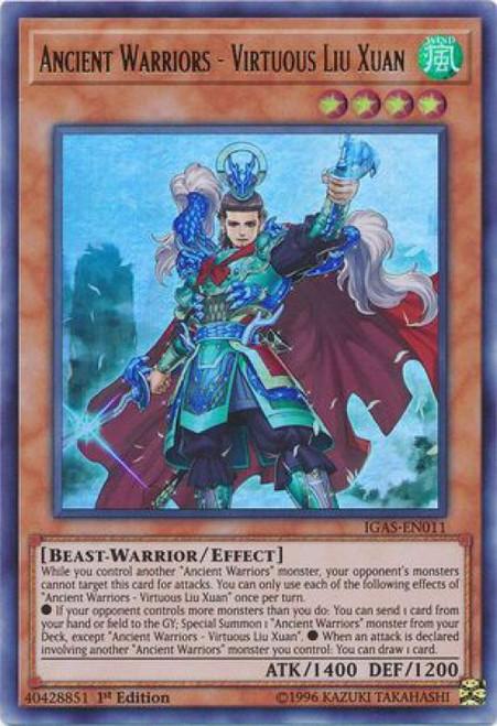 YuGiOh Ignition Assault Ultra Rare Ancient Warriors - Virtuous Liu Xuan IGAS-EN011