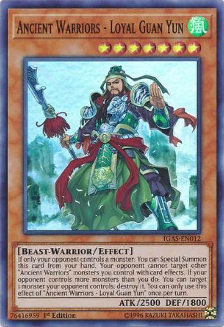 YuGiOh Ignition Assault Super Rare Ancient Warriors - Loyal Guan Yun IGAS-EN012