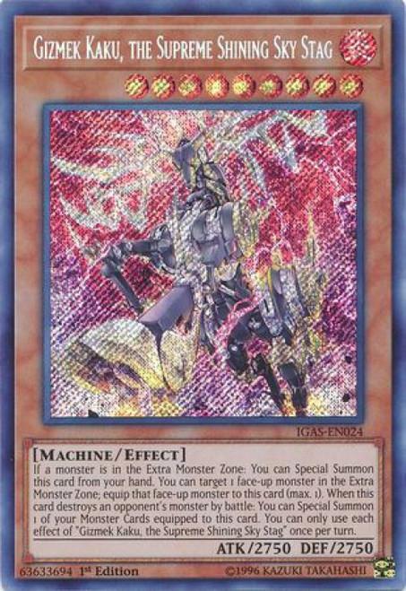 YuGiOh Ignition Assault Secret Rare Gizmek Kaku, the Supreme Shining Sky Stag IGAS-EN024
