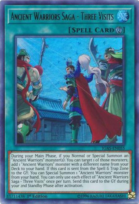YuGiOh Ignition Assault Ultra Rare Ancient Warriors Saga - Three Visits IGAS-EN055