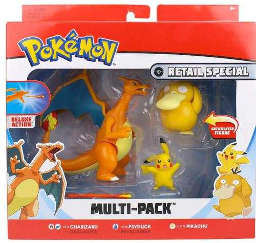 Pokemon Charizard, Psyduck & Pikachu 3-Inch Figure 3-Pack