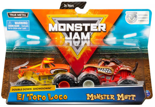 Monster Jam Double Down Showdown! El Toro Loco & Monster Mutt Diecast Car 2-Pack